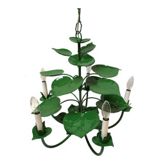 Vintage Metal Green Lily Pad Chandelier