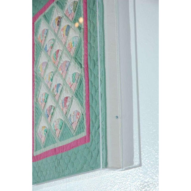 Image of Miniature 1940s Pastel Fans Mounted Doll Quilt