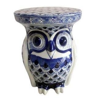 Blue & White Ceramic Owl Garden Stool Plant Stand