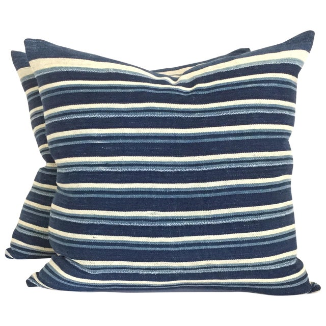Vintage African Indigo Stripped Pillows - Pair - Image 1 of 4