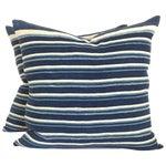 Image of Vintage African Indigo Stripped Pillows - Pair