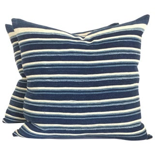 Vintage African Indigo Stripped Pillows - Pair