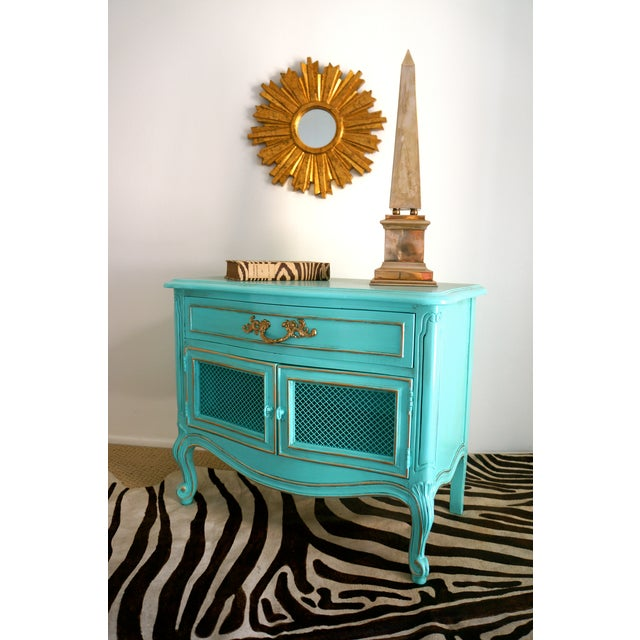 French Style Turquoise Nightstands - Pair - Image 8 of 10