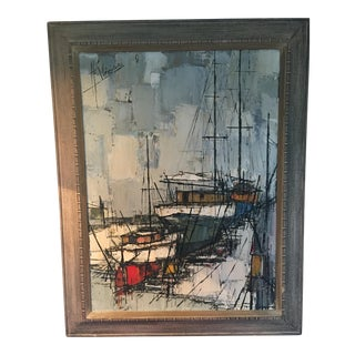 Mid-Century Modern Original Harbor Painting