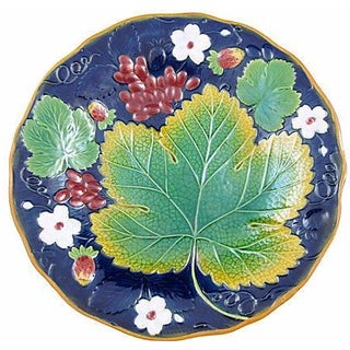 Brownfield Majolica Strawberry Leaf Plate
