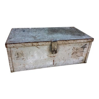 Industrial Light Grey Metal Trunk Toolbox