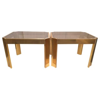 Smoked Glass & Gold Side Tables - A Pair