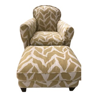 Crate and Barrel Eiffel Chair and Ottoman Custom Fabric