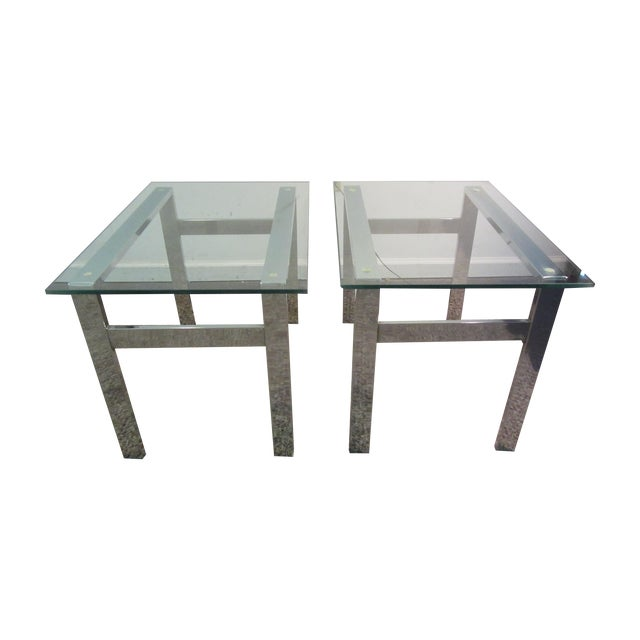 Milo Baughman Chrome Side Tables - A Pair - Image 1 of 11