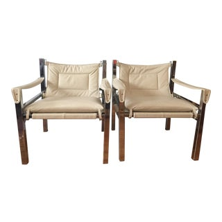 Vintage Chrome and Cream Leather Safari Chairs - Pair