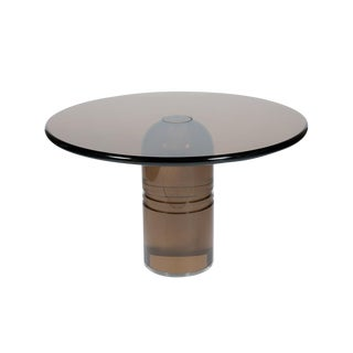 """RARE 1970S CHARLES HOLLIS JONES """"LE DOME"""" DINING TABLE IN SMOKED LUCITE"""