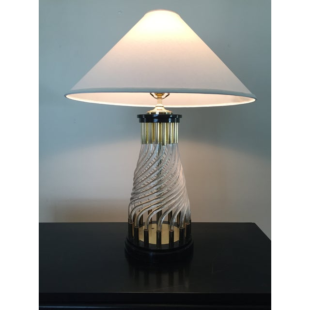 Hollywood Regency Glass Rod Lamp - Image 2 of 4