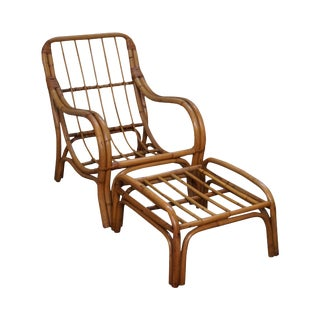 Vintage Curved Bamboo Rattan Lounge Chair w/ Ottoman