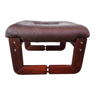 Leather Footstool by Percival Lafer