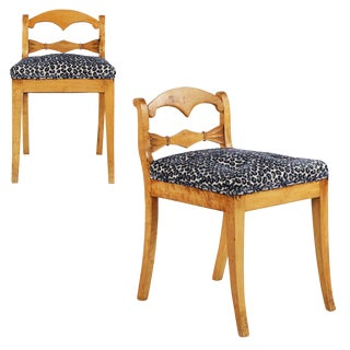 19th Century Biedermeier Style Carved Fruitwood Lowback Side Chairs - a Pair