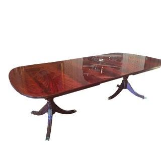 Kindel Crotch Mahogany Pedestal Dining Table