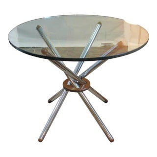 Vintage Modern Chrome & Wood Teepee Base Glass Top Dining Table