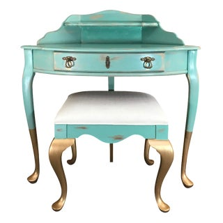 Gold-Dipped Vanity & Stool