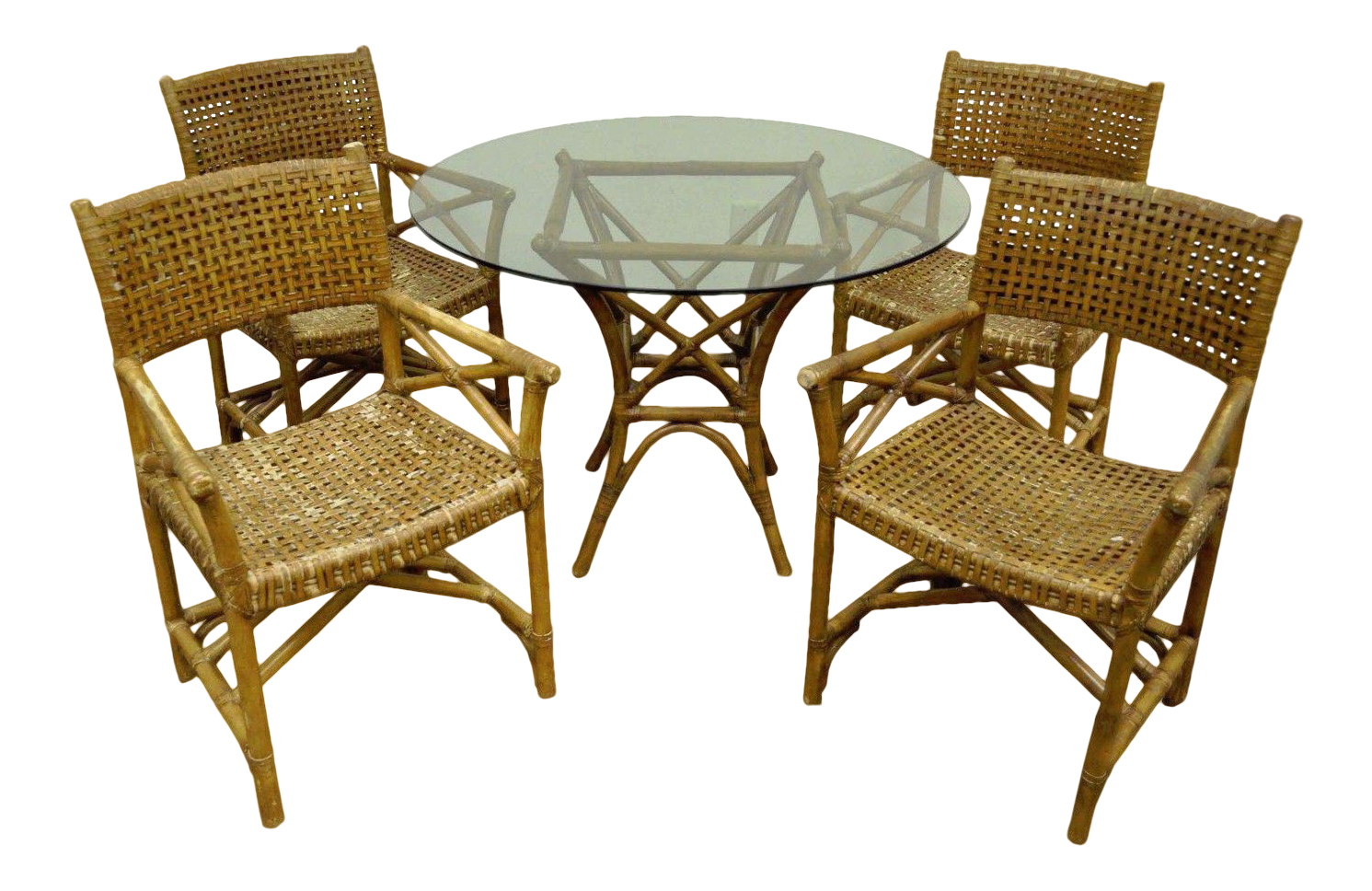 Faux Bamboo Rattan Sunroom Dining Table U0026 Chairs   Set ...