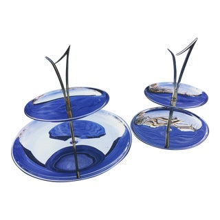 Mid-Century Modern Metal Tiered Trays - Set of 2