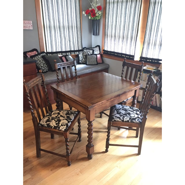 Barley Leg Solid Oak Table & Chairs - Image 5 of 5