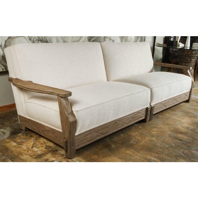 Image of Mid-Century Distressed Oak Sofa