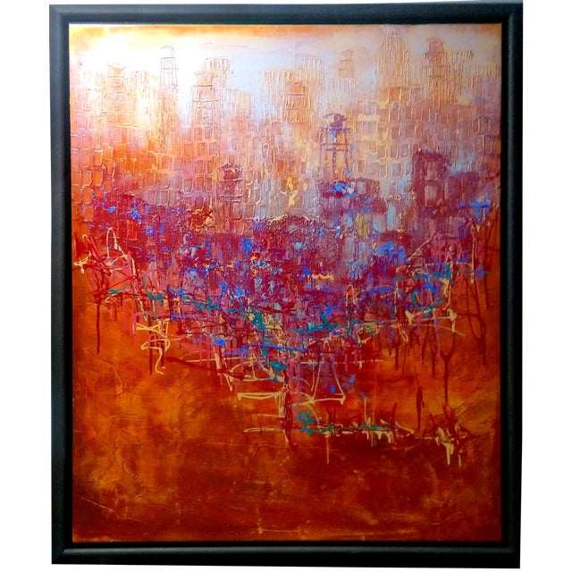 Abstract Expression Drip Action Cityscape Oil Painting - Image 1 of 9