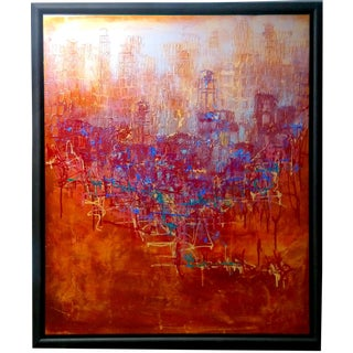 Abstract Expression Drip Action Cityscape Oil Painting