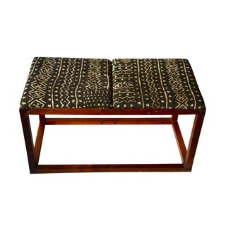 Mid-Century Walnut & Mud Cloth Bench