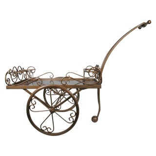 1970s Scrolled Iron Beverage Cart