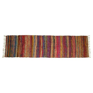 Moroccan Striped Boucherouite Runner - 2' X 8'