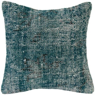 Handmade Overdyed Turquoise Rug Pillowcase