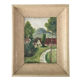 Vintage French Cottage Oil Painting