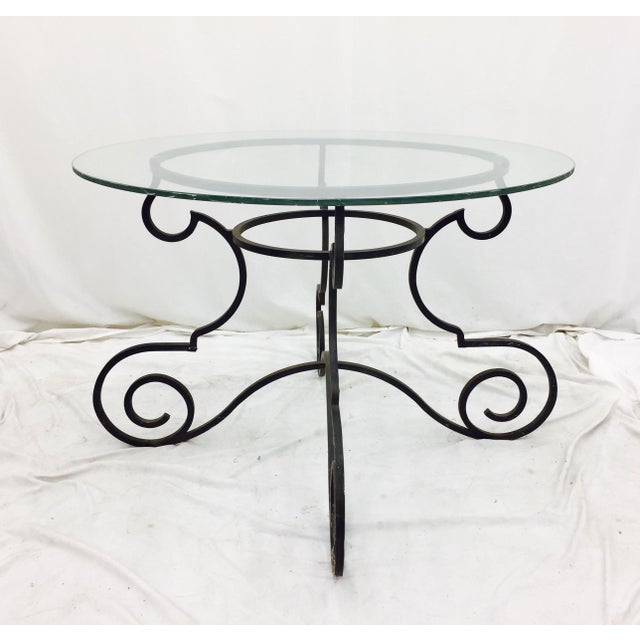 Vintage Wrought Iron & Glass Top Table - Image 4 of 6