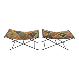 Kilim Upholstered Metal X-Benches - A Pair