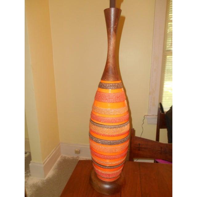 Mid-Century Walnut Ceramic Lamp - Image 4 of 8