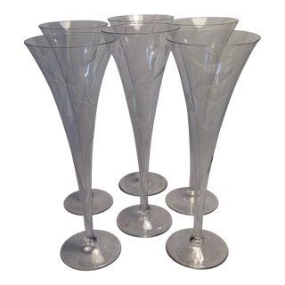 Vintage Yugoslavia Etched Crystal Champagne Flutes - Set of 6