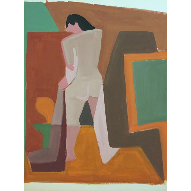 Mid-Century Gouache Cubist Female Nude Painting - Image 3 of 7