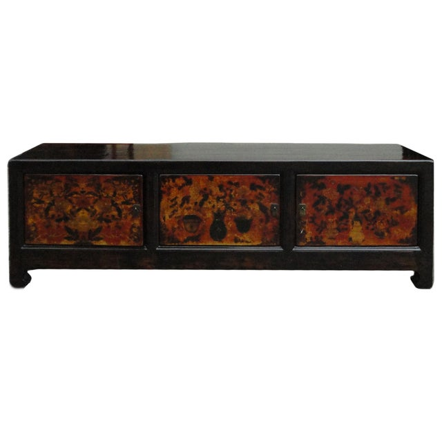 Chinese Vintage Low Graphic Tv Console Cabinet - Image 2 of 6