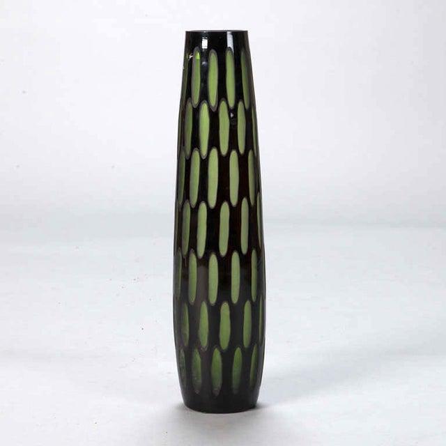 Mid-Century Slender Black & Green Case Glass Vase - Image 4 of 5