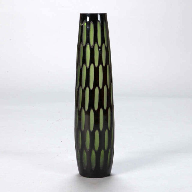 Image of Mid-Century Slender Black & Green Case Glass Vase