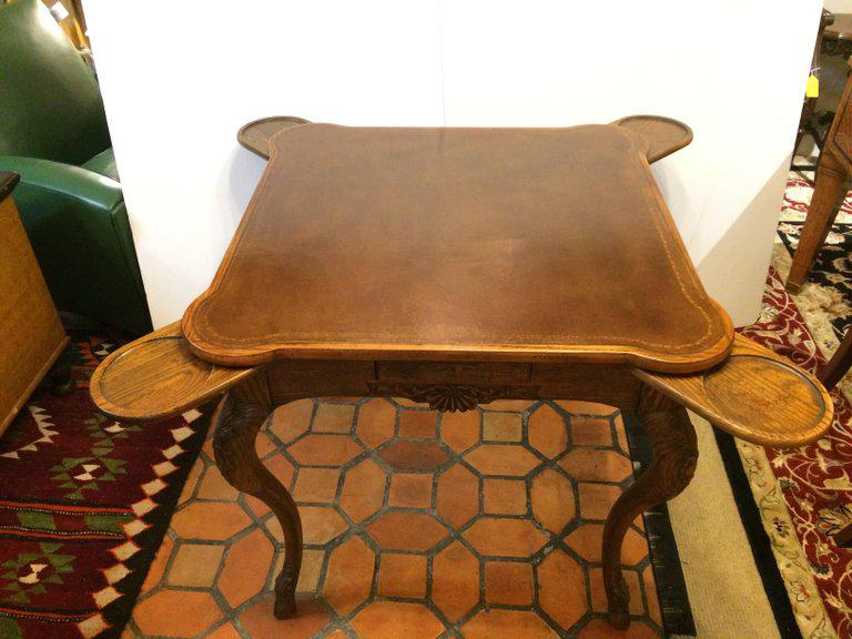 Rich Oak And Tooled Leather Game Table   Image 8 Of 11