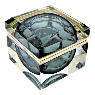 Rare Monumental Murano Faceted Glass Sommerso Box by Alessandro Mandruzzato