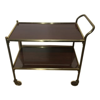 Brass and Lacquered Mahogany Serving Cart/Trolley