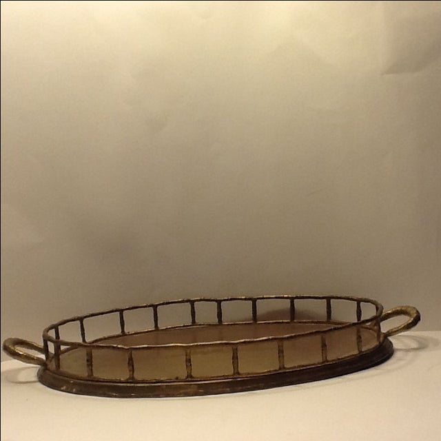 Vintage Brass Bamboo Style Tray - Image 2 of 4
