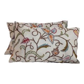 Crewel Work Bolster Pillows - A Pair