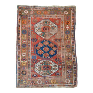 "Antique Caucasian Kazak Rug - 4'5"" X 5'11"""