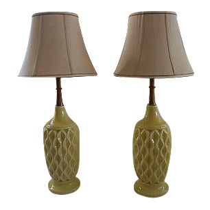 Mid-Century Danish Yellow Textured Ceramic Table Lamps - A Pair