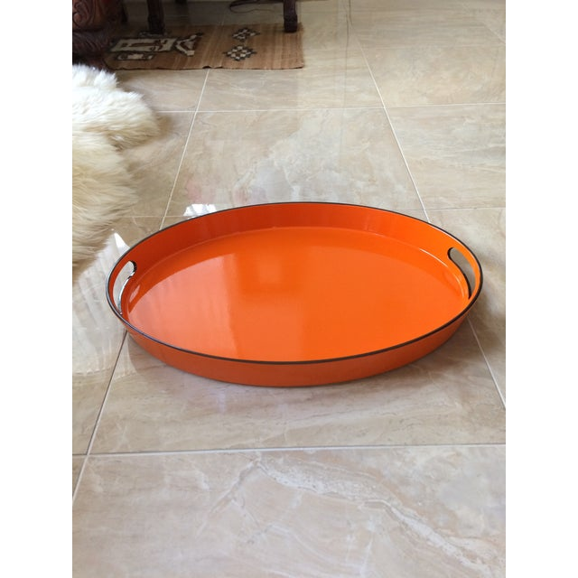 Orange Lacquer Oval Hermès Inspired Serving Tray - Image 5 of 11
