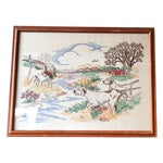 Image of Vintage Dog and Landscape Embroidered Needlework